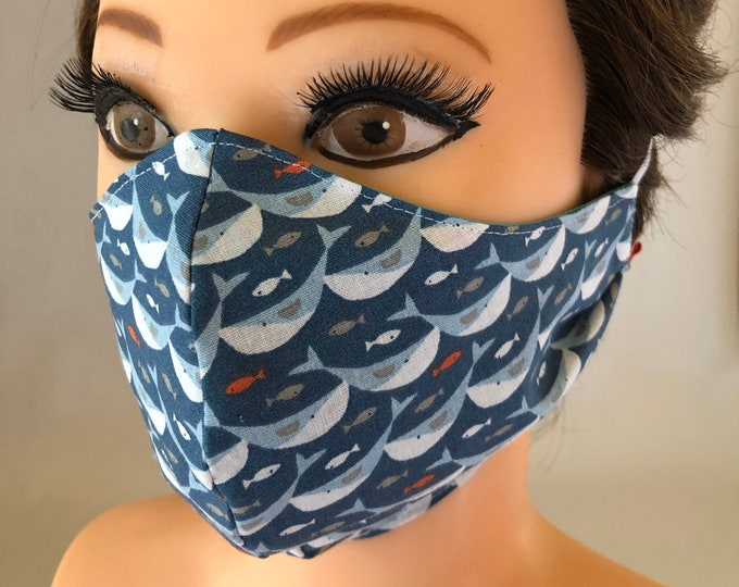 Washable 3 layers, Reversible Cotton Face Mask whales and dark blue