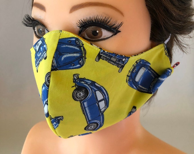 Washable 3 layers, Reversible Cotton Face Mask cars and yellow/blue