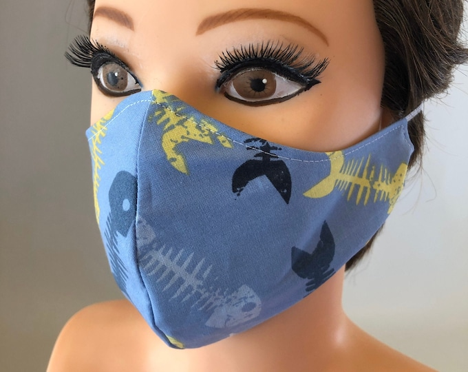 Washable 3 layers, Reversible Cotton Face Mask Fish and fish bones