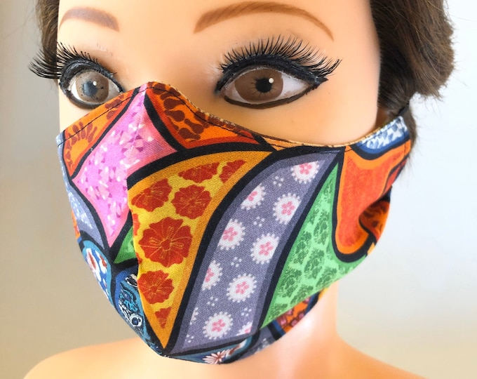Washable 3 layers, Reversible Cotton Face Mask Super colorful