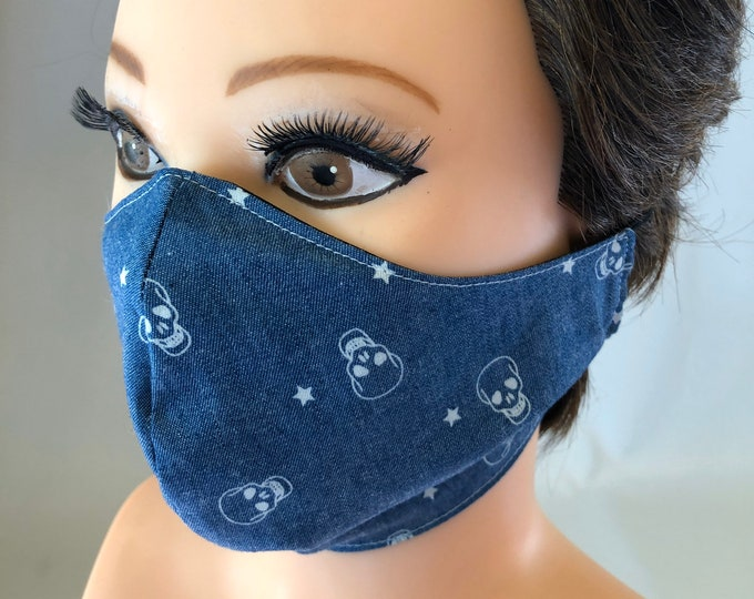 Washable 3 layers, Reversible Cotton Face Mask skulls and black
