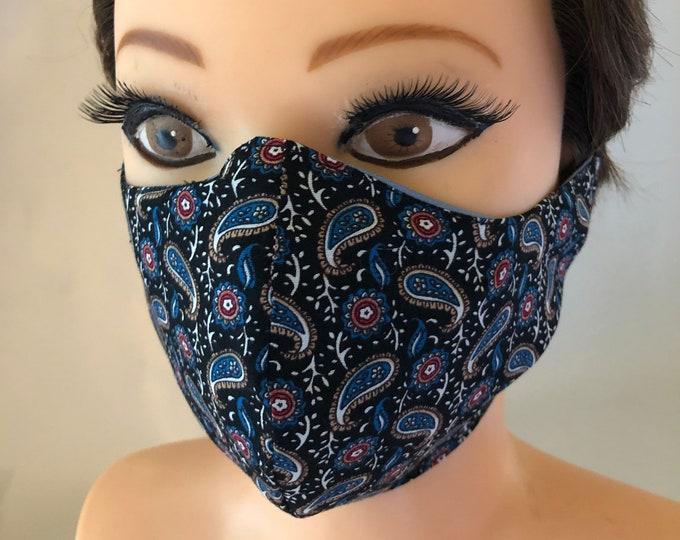 Washable 3 layers, Reversible Cotton Face Mask Elegant Paisley and Blue