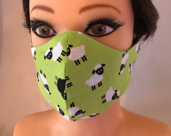 Washable 3 layers, Reversible Cotton Face Mask Goats and Sheep