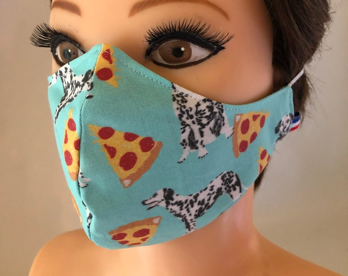 Washable 3 layers, Reversible Cotton Face Mask Dogs Dalmatians and Pizza
