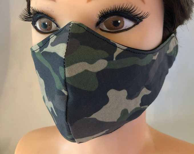 Washable 3 layers, Reversible Cotton Face Mask Camouflage Camo Green Pattern