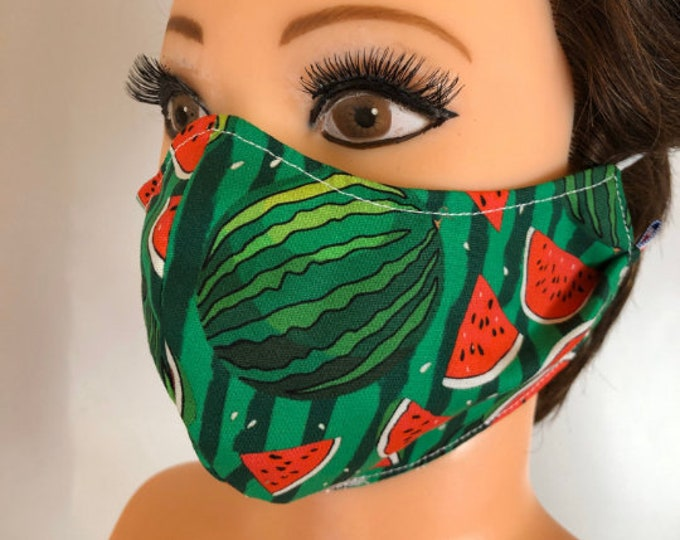 Washable 3 layers, Reversible Cotton Face Mask Watermelons and plain green