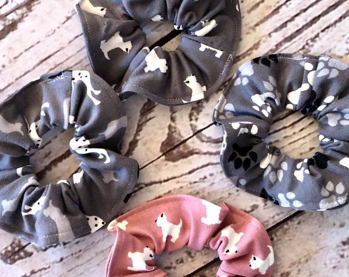 Set of animal themed scrunchies, hair ties, hair elasticated scrunchies, dogs and paws, grey, pink