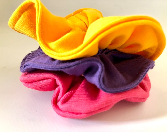 Set of 3 x plain colours scrunchies, hair ties, hair elasticated scrunchies
