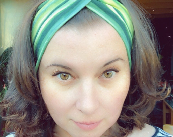 Green and Black Stripes Knotted Headband, Turban Headband, Fabric Headband, Sports/Yoga headband, Mother's Day Gift, Women's Gift