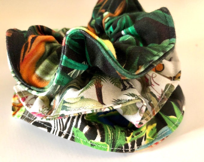 Set of 3 x jungle themed scrunchies, hair ties, hair elasticated scrunchies