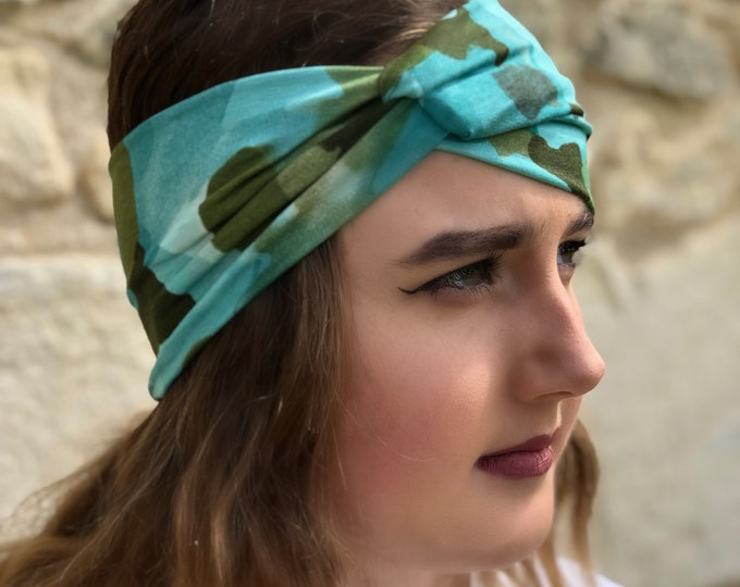 Camouflage, Camo Green Blue Knotted Headband, Turban Headband, Fabric Headband, Sports/Yoga headband, Mother's Day Gift, Women's Gift