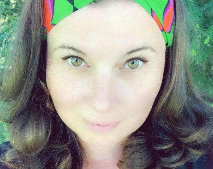 Wax Style Cotton Green and Purple Knotted  Elasticated Headband, Turban Headband, Fabric Headband, Mother's Day Gift, Women's Gift