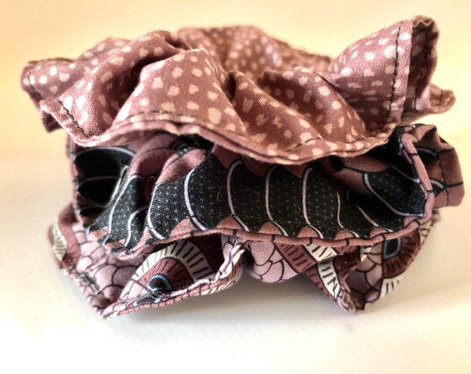 Set of 3 x brown themed scrunchies, hair ties, hair elasticated scrunchies
