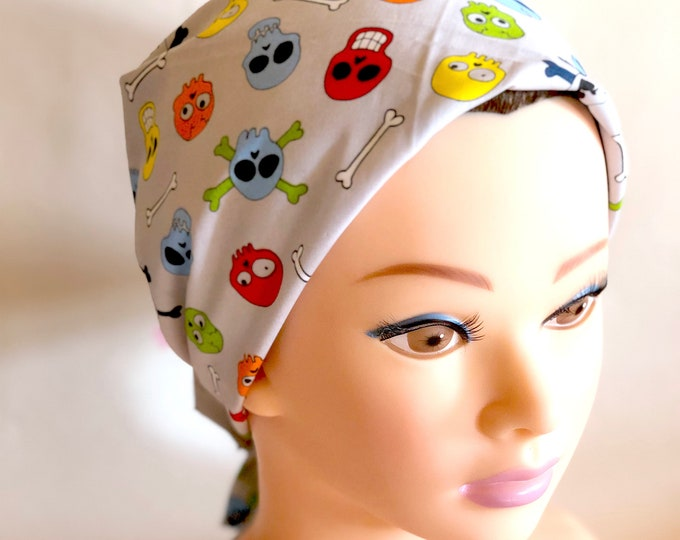 Skulls Grey Bandana, Rockabilly, Chemo Headwear Women, Head Scarf for Cancer Patients, Hair Wrap, Accessories Unique Gifts