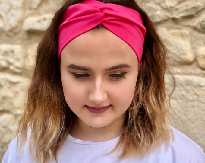 Fuchsia Pink Knotted Headband, Turban Headband, Fabric Headband, Sports/Yoga headband, Mother's Day Gift, Women's Gift