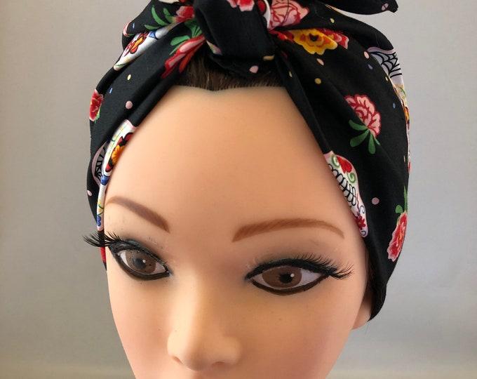 Skulls Bandana, Calaveras, Rockabilly, Chemo Headwear Women, Head Scarf for Cancer Patients, Hair Wrap, Accessories Unique Gifts
