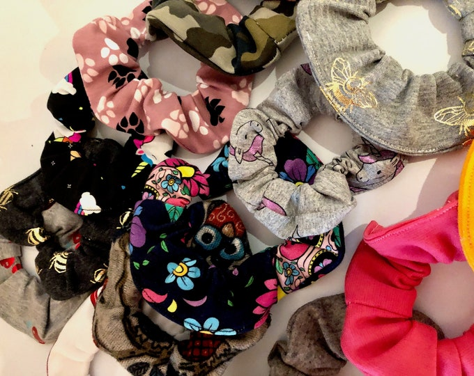 Set of scrunchies, hair ties, hair elasticated scrunchies, colourful selection, plain or patterned