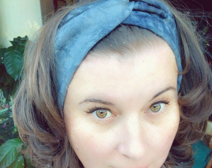 Blue Grey Black Shades Tie Die Knotted Headband, Turban Headband, Fabric Headband, Sports/Yoga headband, Mother's Day Gift, Women's Gift
