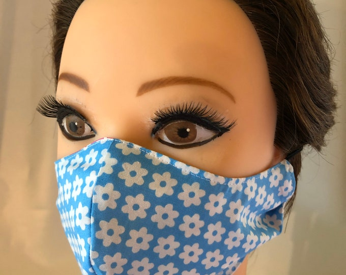 Washable 3 layers, Reversible Cotton Face Mask pink with stars and blue white flowers