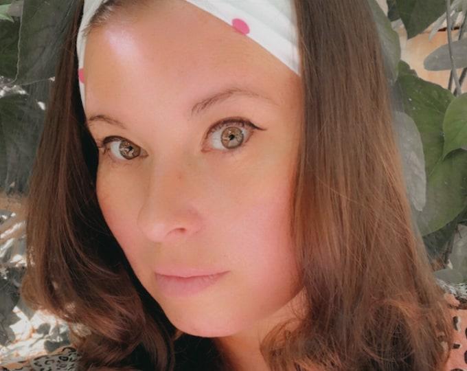White Pink Dots Knotted Headband, Turban Headband, Fabric Headband, Sports/Yoga headband, Mother's Day Gift, Women's Gift
