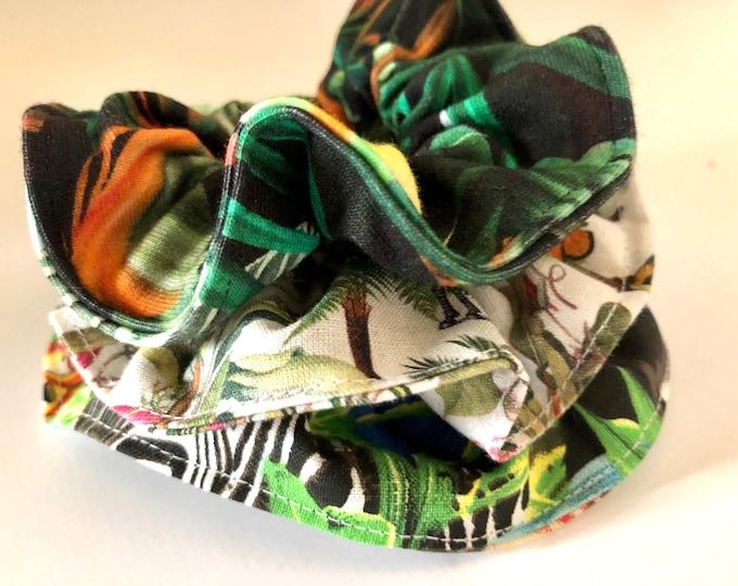 Set of 3 x jungle themed scrunchies, hair ties, hair elasticated scrunchies