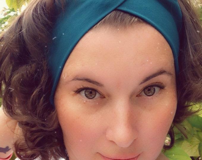 Teal Plain Knotted Headband, Turban Headband, Fabric Headband, Sports/Yoga headband, Mother's Day Gift, Women's Gift