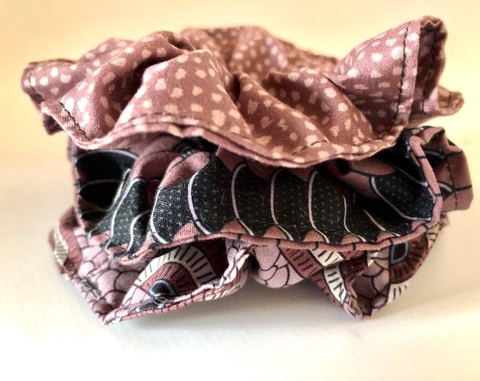 Set of 3 x brown themed scrunchies, hair ties, hair elasticated scrunchies
