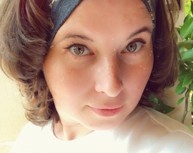 Grey with golden skulls Knotted Headband, Turban Headband, Fabric Headband, Sports/Yoga headband, Mother's Day Gift, Women's Gift
