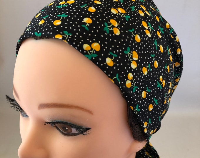 Yellow Cherry Bandana, Rockabilly, Chemo Headwear Women, Head Scarf for Cancer Patients, Hair Wrap, Accessories Unique Gifts