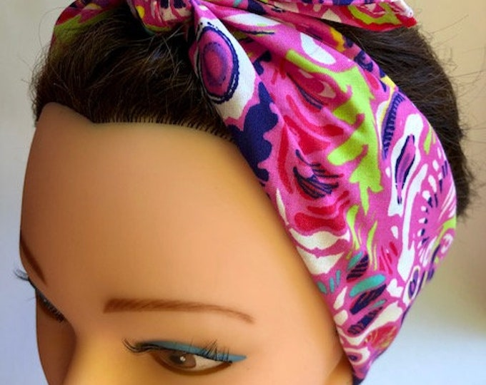 Pink Flowers Pattern Bandana, Chemo Headwear Women, Head Scarf for Cancer Patients, Hair Wrap, Accessories Unique Gifts