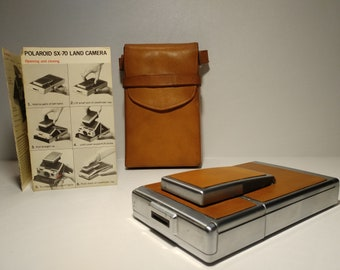 Vintage Polaroid SX-70 Land Camera with leather case 10b540a5618