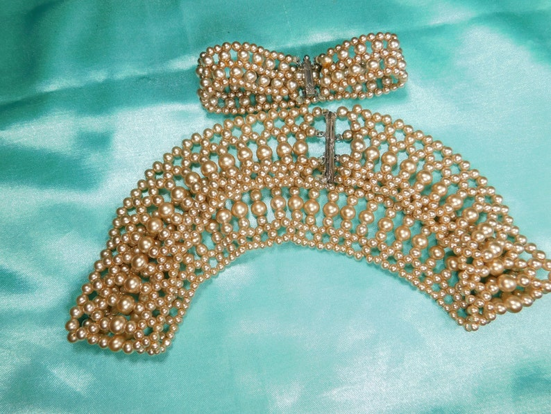 Antique faux pearl collar and Bracelet Art Deco  sterling clasp