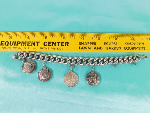 Heavy curb Mexican charm bracelet
