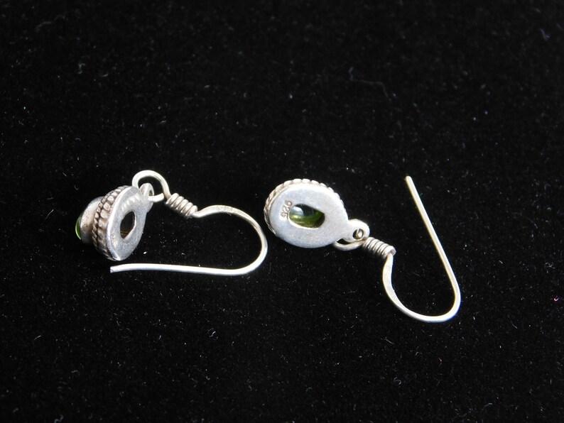 Pierced dangle earrings 925 green stone with shepherds hook