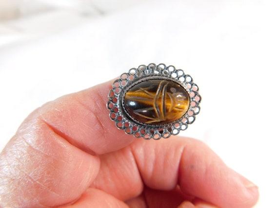 Beau sterling carved Tiger eye filigree ring adjustable
