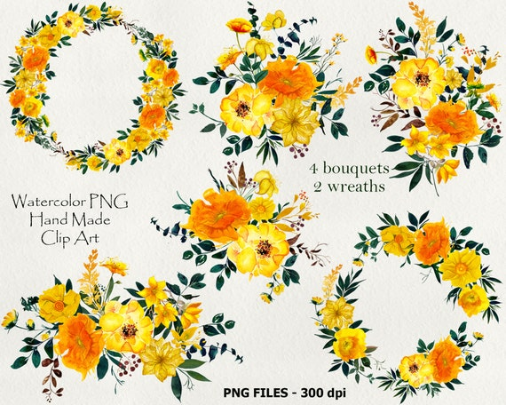 Yellow clipart Yellow flower clipart Seamless patterns Flower png Invitation clipart Watercolor flowers Boho floral clipart