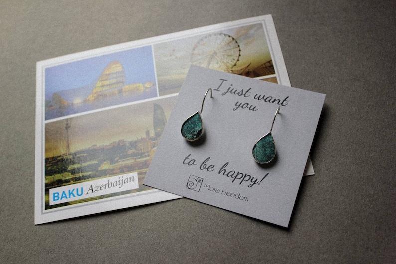 Blue gemstone sterling silver earrings Turquoise silver earrings