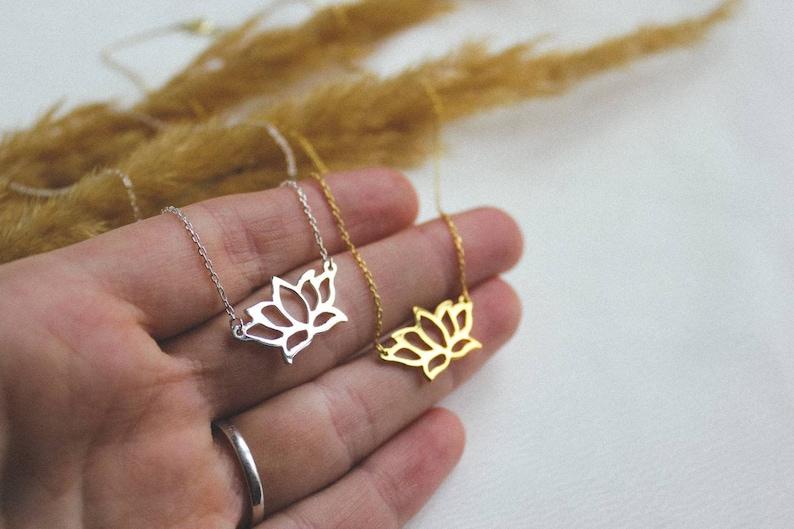 Lotus chain Lotus silver necklace Handmade lotus pendant