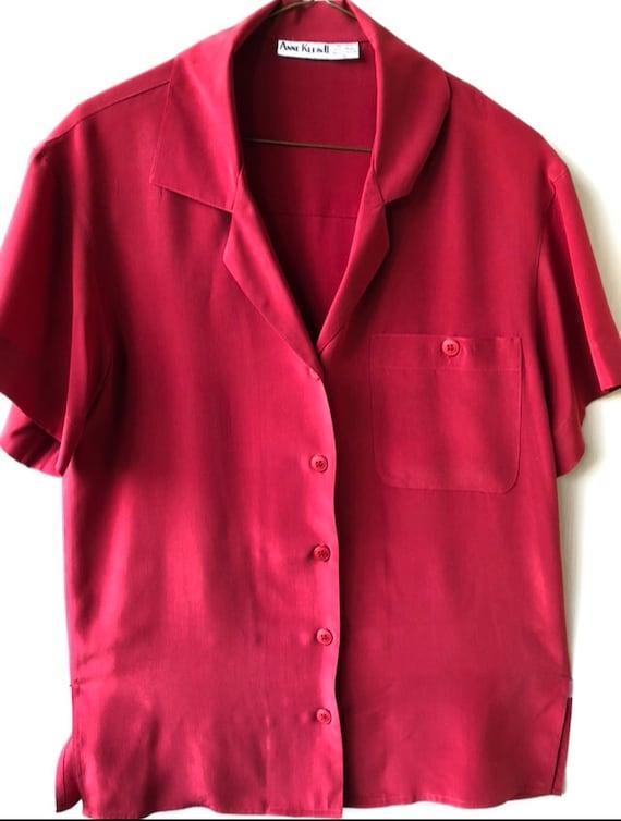 Vintage 1980s ANNE KLEIN II Classic Women's Red Si