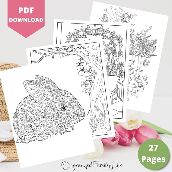 Spring and Easter Coloring Pages  Instant Download  PDF