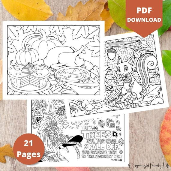 Fall and Thanksgiving Coloring Pages  Instant Download  PDF