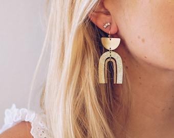 Boho Brass Dangle Earrings, Modern Drop Earrings, Minimal Statement Gold Earrings Bridal, Gold Dangle Earrings Boho