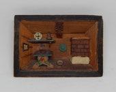 Vintage miniature Wooden Kitchen Diorama