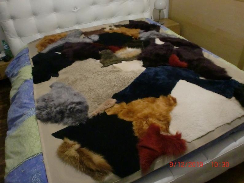 real fur patchwork blanket with velvet image 0