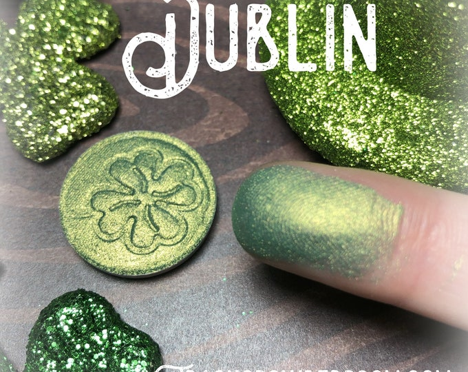 DUBLIN Pressed pigment/eyeshadow Green, Mint, Gold, Yellow, Dark Green, vegan, cruelty free, magnetic