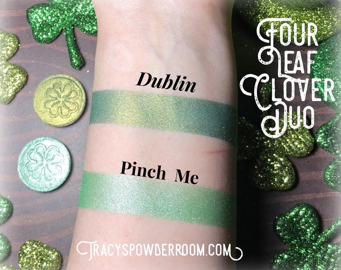 DUBLIN & Pinch Me Pressed pigment/eyeshadow Green, Mint, Gold, Yellow, Dark Green, vegan, cruelty free, magnetic