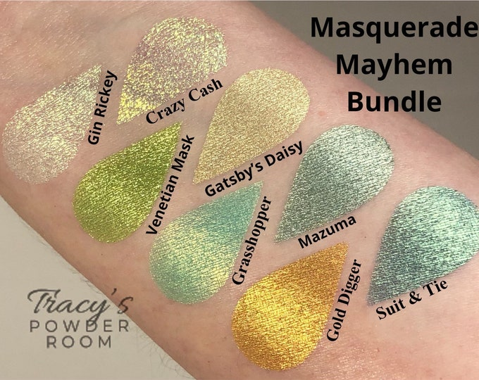 Masquerade Mayhem Bundle, Duochrome, Indie Make up, Mulitchrome, MUA, Indie Eyeshadow, Green Eyeshadow, Eyeshadow, Gift for her, Irridescent