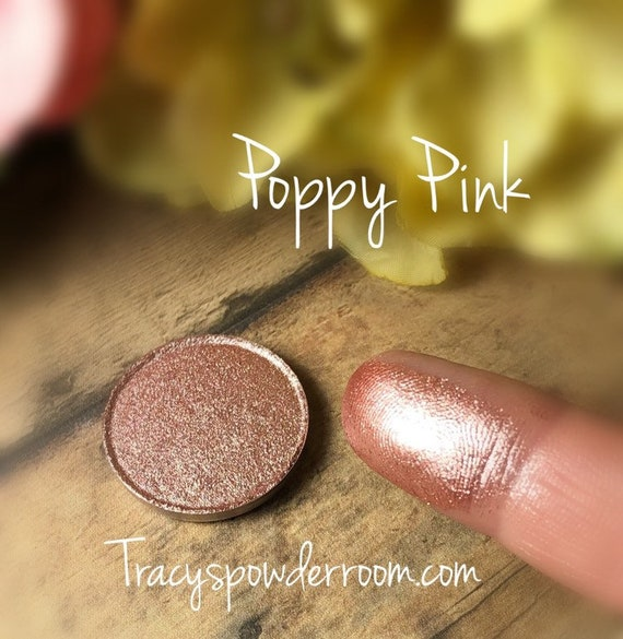 POPPY PINK Pressed Pigment/Eyeshadow, pink eyeshadow, indie makeup, cruelty free, shimmer eyeshadow, magnetic, Gift for her
