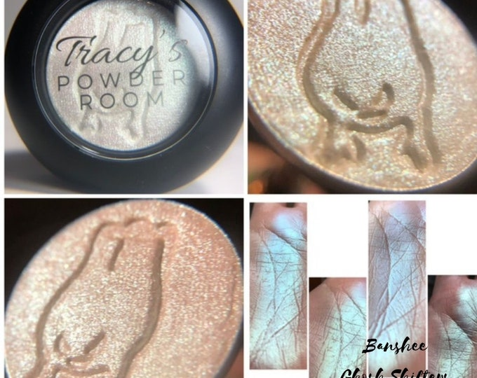 BANSHEE Pressed Pigment Eyeshadow Highlight Topper Halloween Indie Make up Indie Eyeshadow Iridescent Color Changing Light Green Rose