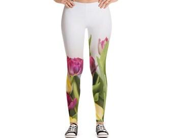 52f1777a2c5891 Flower tulips Legging design on white leggings fem beautiful